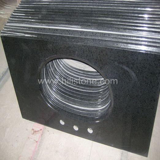 G684 Black Polished Vanity Top with Backsplash