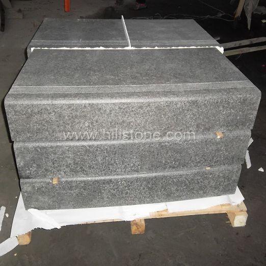 G684 Black Flamed Curved Stone Block Step