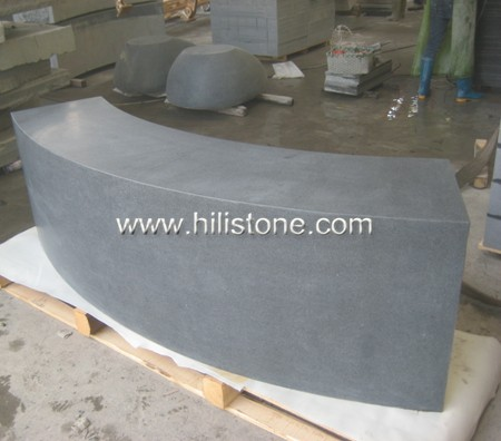 G654 Blue Black Honed Curved Tree Bench